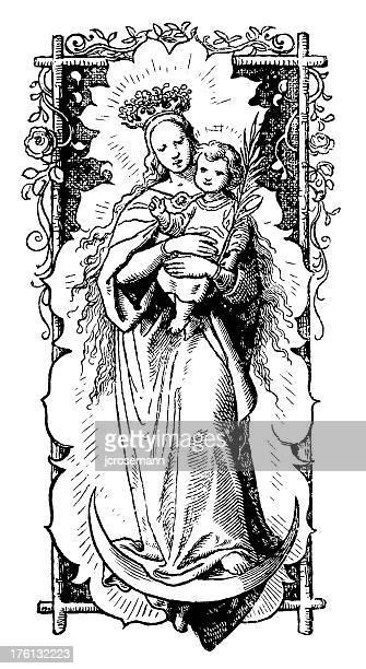 illustrations, cliparts, dessins animés et icônes de maria avec l'enfant - la vierge marie