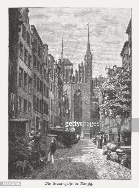 mariacka street (frauengasse), gdansk (danzig), poland, wood engraving, published 1884 - gdansk stock illustrations