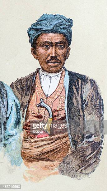 Marianas Philippines Malay man, antique illustration, human ethnicities