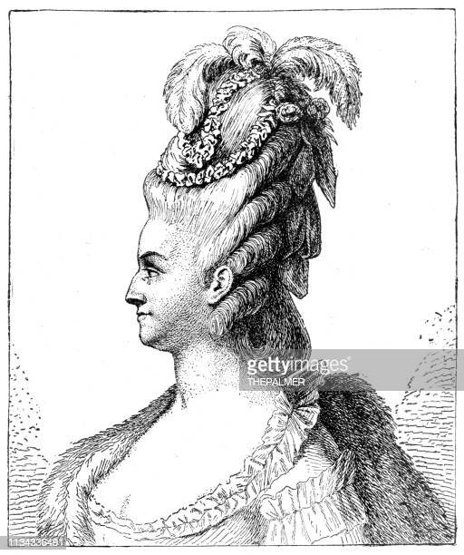 marie antoinette queen of france engraving 1894 - head of state stock illustrations