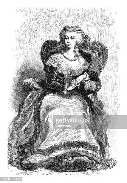 marie antoinette queen of france portrait illustration - king royal person stock illustrations
