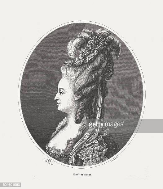 Marie Antoinette (1755-1793), wood engraving, published in 1873
