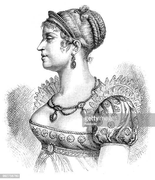 marie louise, 1791 – 1847. austrian archduchess, duchess of parma and empress of the french, from 1810 to 1814 as napoleon's second wife - empress stock illustrations, clip art, cartoons, & icons