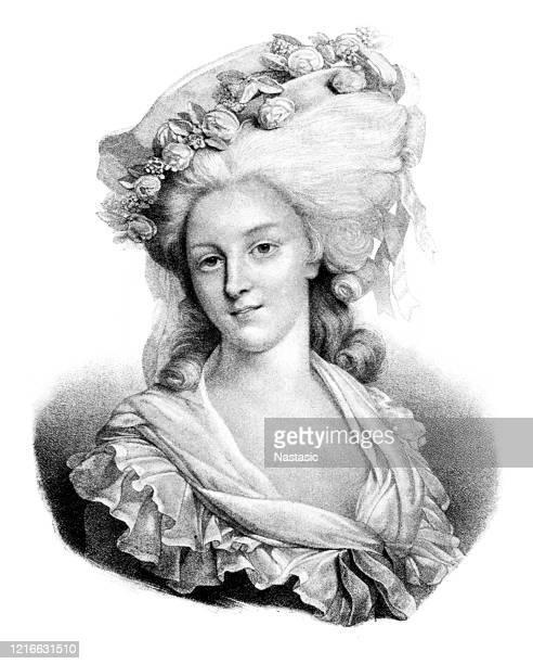 marie thérése louise von savoyen, prinzessin von lamballe - europäischer abstammung stock-grafiken, -clipart, -cartoons und -symbole
