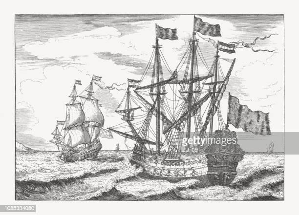 2 番目の海洋船、ludolf bakhuizen によって刻まれた半世紀 - オランダ文化点のイラスト素材/クリップアート素材/マンガ素材/アイコン素材