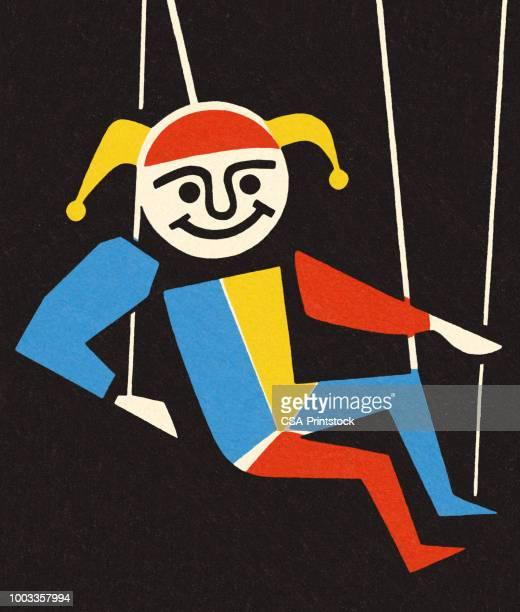 illustrations, cliparts, dessins animés et icônes de marionnettes marionnette - arlequin