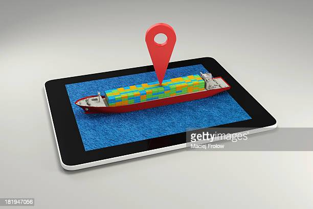 gps marker on containers ship - nautical vessel stock illustrations