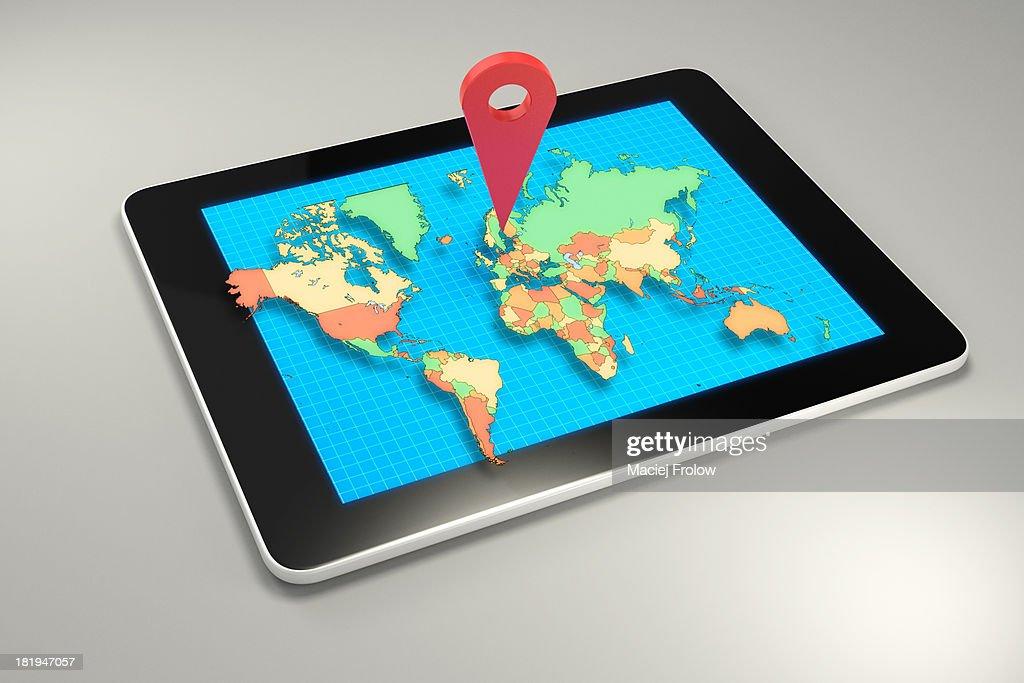 GPS marker on worldmap displayed on a tablet : Stock Illustration