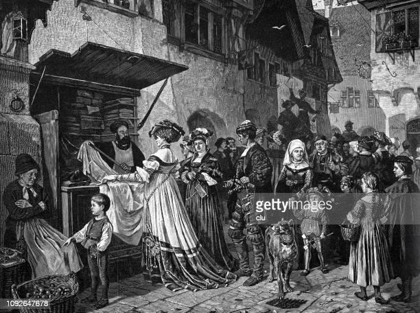 ilustraciones, imágenes clip art, dibujos animados e iconos de stock de mercado en una ciudad medieval - edad media