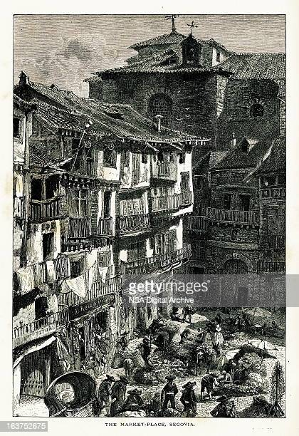 market place at segovia, spain i antique european illustrations - village stock illustrations