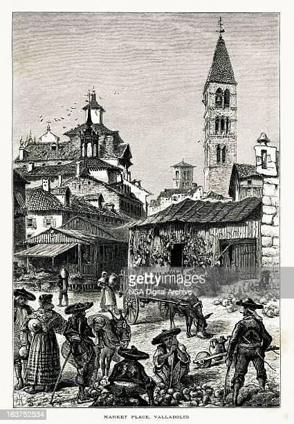 market place at valladolid, spain i antique european illustrations - village stock illustrations