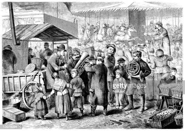 ilustraciones, imágenes clip art, dibujos animados e iconos de stock de mercado, leipzig, alemania durante la feria, siglo xix - puesto de mercado