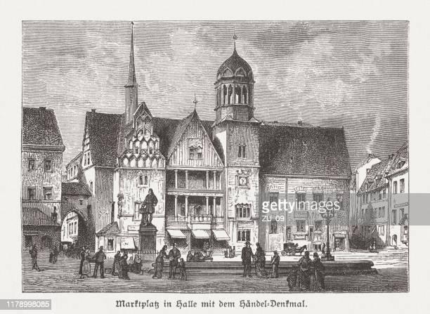 ヘンデル像を持つハレ/サールのマーケット広場、1885年に出版 - ジョージ ヘンデル点のイラスト素材/クリップアート素材/マンガ素材/アイコン素材