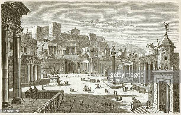 market square of sparta, ancient greece, wood engraving, published 1882 - sparta greece stock illustrations, clip art, cartoons, & icons