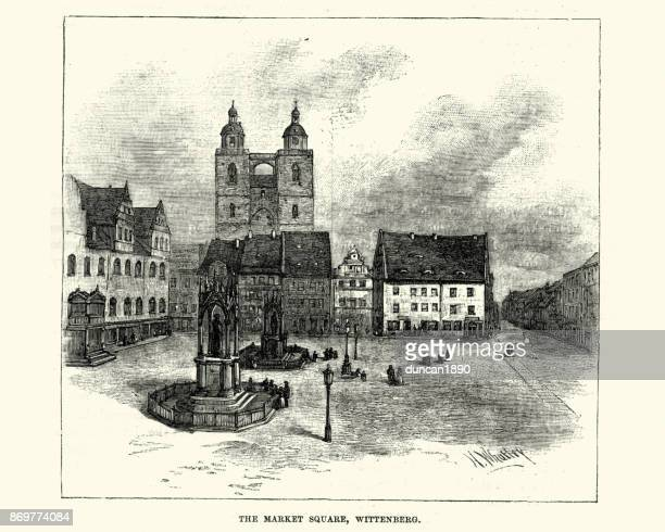 market square, wittenberg, 19th century - lutherstadt wittenberg stock illustrations