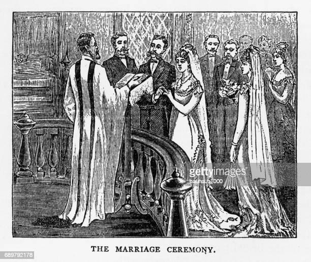 hochzeit zeremonie viktorianischen gravur, 1879 - feierliche veranstaltung stock-grafiken, -clipart, -cartoons und -symbole