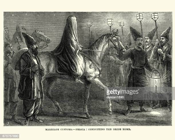 marriage customs in persia, conducting the bride home, 1870 - iranian culture stock illustrations, clip art, cartoons, & icons