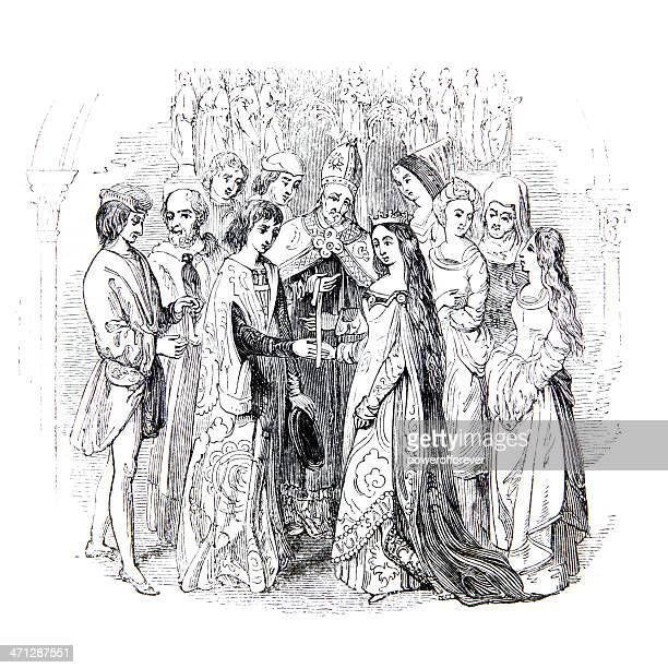 marriage king henry vi and margaret of anjou - 1840 1849 stock illustrations