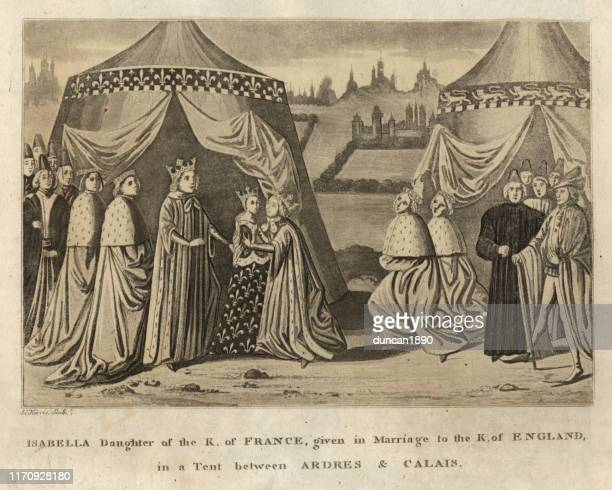 marriage of isabella of france and edward ii of england - princess stock illustrations
