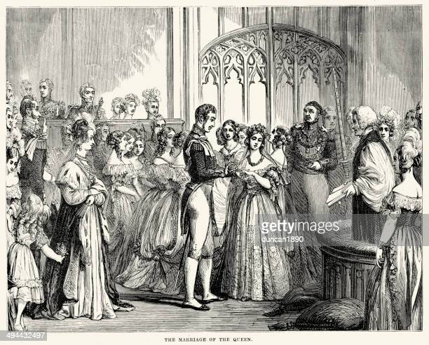 marriage of queen victoria - queen royal person stock illustrations, clip art, cartoons, & icons