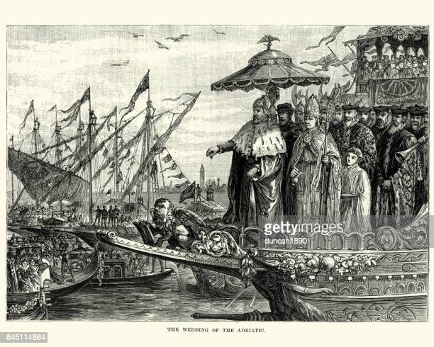 marriage of the sea ceremony, venice, italy - bishop clergy stock illustrations, clip art, cartoons, & icons