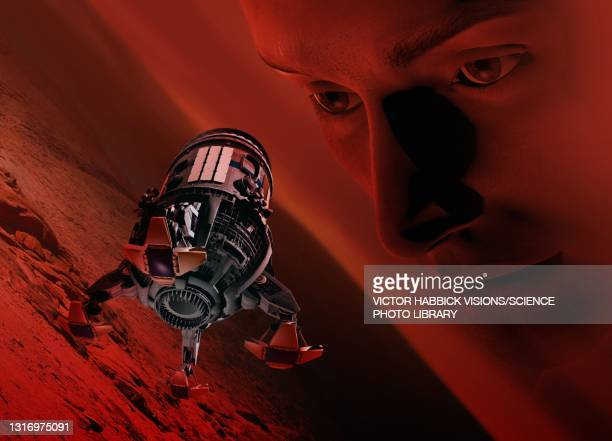 mars exploration, conceptual illustration - exploration stock illustrations