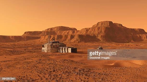 Mars outpost near mesa.