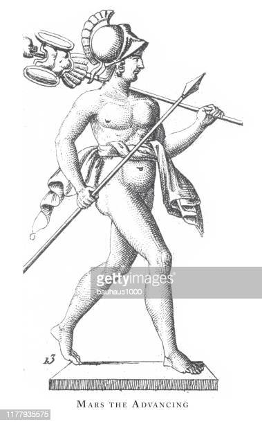 mars the advancing, religious rites and figures of ancient greece and rome engraving antique illustration, published 1851 - greek statue stock illustrations