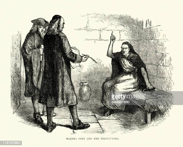 martha corey and her persecutors, salem witch trials - legal trial stock illustrations