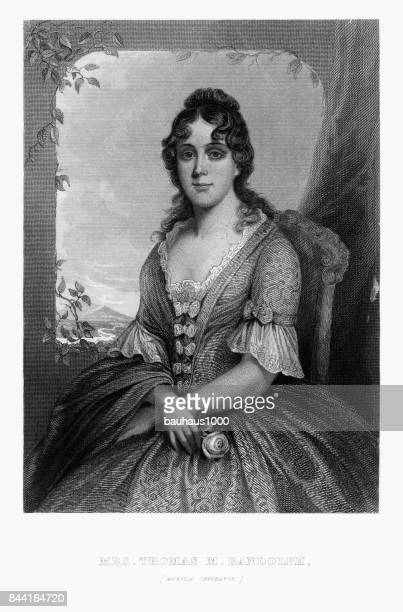 martha jefferson, mrs. thomas randolph, engraved portrait of circa 1780 - thomas jefferson stock illustrations, clip art, cartoons, & icons