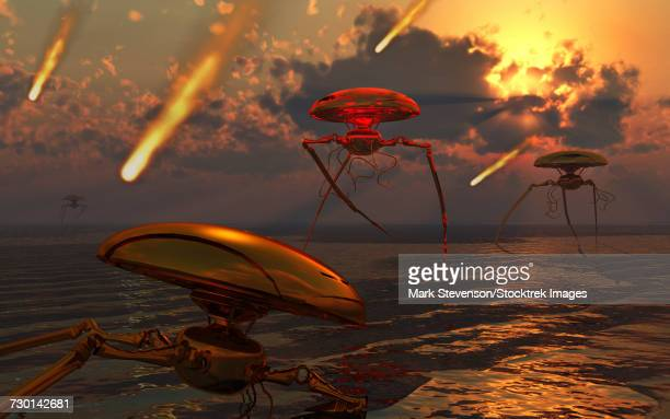 martian vehicles and war machines arriving on earth. - judgment day apocalypse stock illustrations, clip art, cartoons, & icons