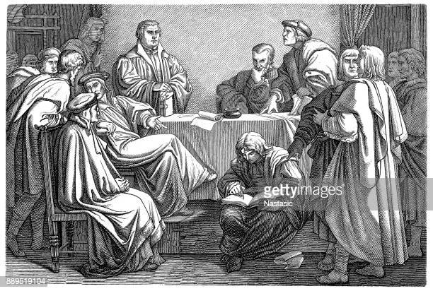 """martin luther, 1483–1546.  """"disputation between luther and eck on the pleißenburg in leipzig"""" - protestantism stock illustrations, clip art, cartoons, & icons"""