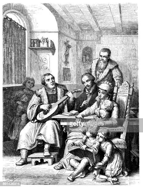 martin luther and his children - protestantism stock illustrations, clip art, cartoons, & icons