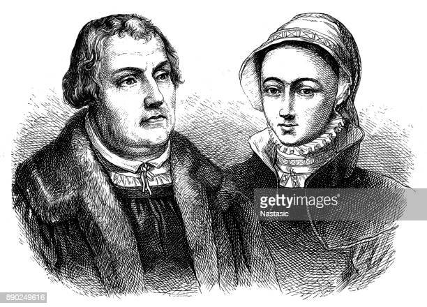 martin luther and his wife - protestantism stock illustrations, clip art, cartoons, & icons