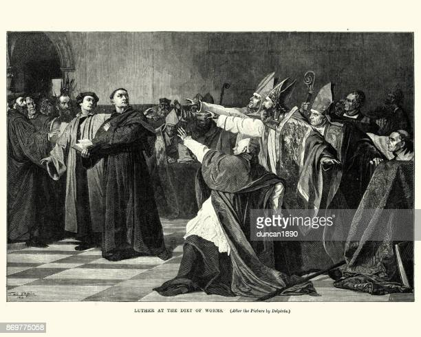 martin luther at the diet of worms - protestantism stock illustrations