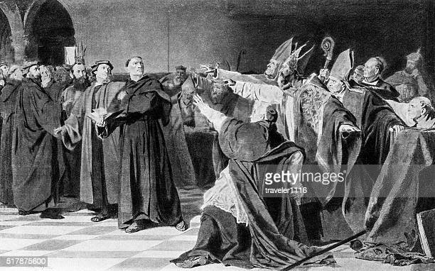 martin luther at the diet of worms in 1521 - dieting stock illustrations, clip art, cartoons, & icons