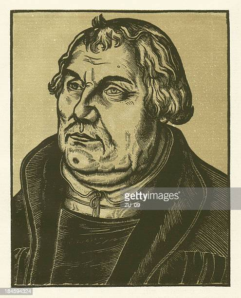 martin luther, contemporary woodcut by cranach - protestantism stock illustrations, clip art, cartoons, & icons