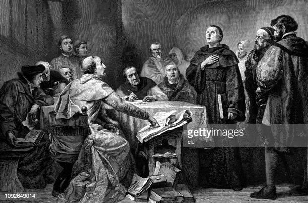 martin luther verteidigt sich gegen kardinal cajetan in augsburg - verteidiger jurist stock-grafiken, -clipart, -cartoons und -symbole