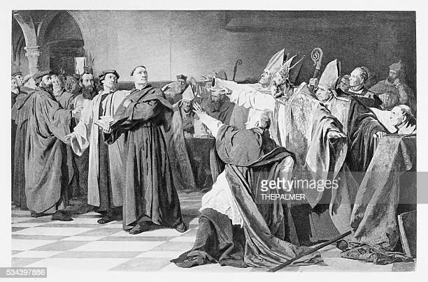 martin luther engraving 1894 - protestantism stock illustrations