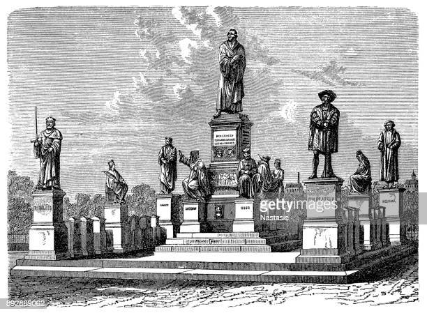 martin luther memorial in worms - german culture stock illustrations