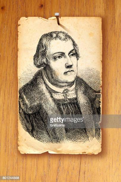 Martin Luther religious leader portrait on wooden door