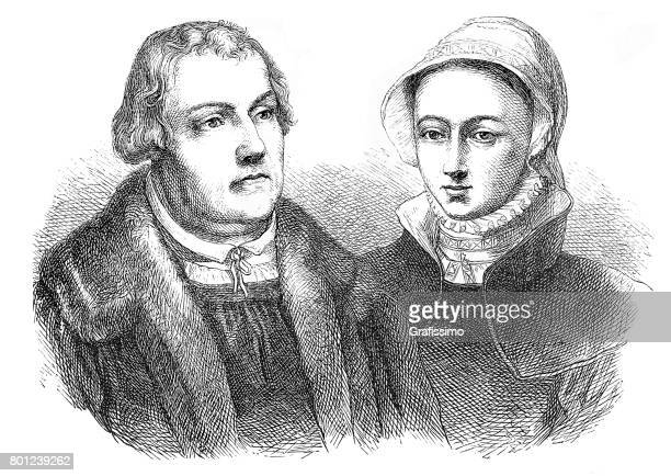 Martin Luther religious leader portrait with wife