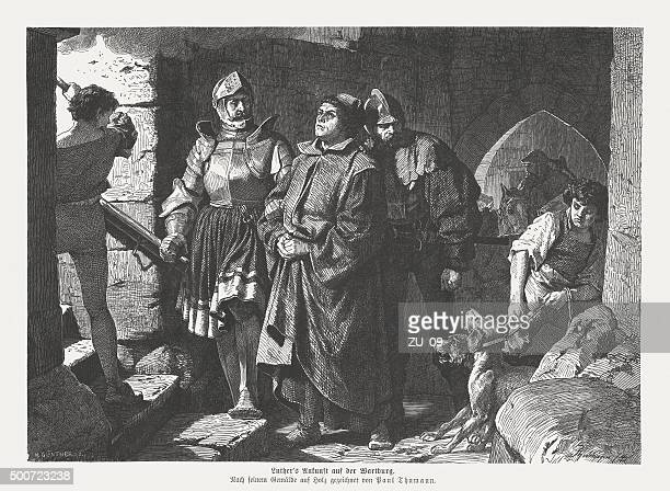 martin luther's arrival at the wartburg, published in 1875 - protestantism stock illustrations, clip art, cartoons, & icons
