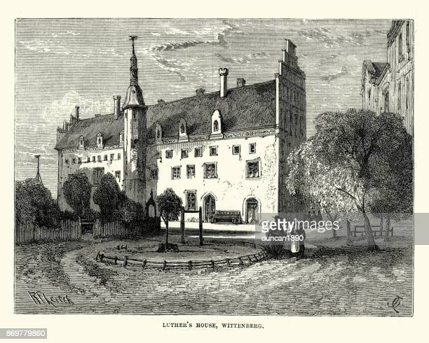 martin luther's house, wittenberg - lutherstadt wittenberg stock illustrations