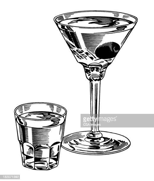 martini and shot - shot glass stock illustrations, clip art, cartoons, & icons