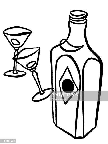 martini glasses and bottle - vodka stock illustrations, clip art, cartoons, & icons