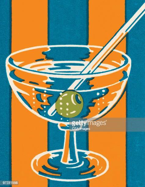 stockillustraties, clipart, cartoons en iconen met martini - sterkedrank