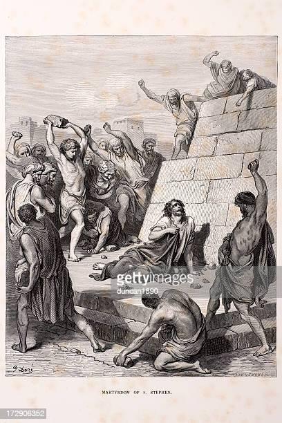 martyrdom of saint stephen - stehen stock illustrations