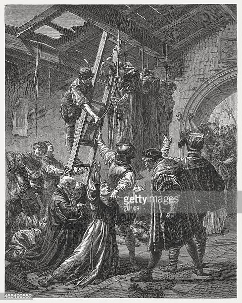 martyrs of gorkum on 9 july 1572, published in 1878 - protestantism stock illustrations