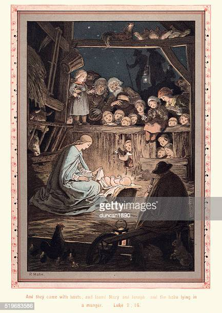 mary and joseph and the babe lying in a manger - nativity scene stock illustrations, clip art, cartoons, & icons